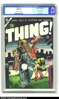 The Thing! #16 (Charlton, 1954) CGC NM- 9.2 Cream to off-white pages. Injury to eye panel. Overstreet 2002 NM 9.4 value...