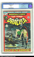 "Bronze Age (1970-1979):Horror, Tomb of Dracula #1 Boston pedigree (Marvel, 1972) CGC NM 9.4 Whitepages. Neal Adams cover. ""First appearance of Dracula"" --..."