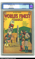 Golden Age (1938-1955):Superhero, World's Finest Comics #58 (DC, 1952) CGC VF- 7.5 Cream to off-white pages. Win Mortimer cover. Overstreet 2002 VF 8.0 value ...