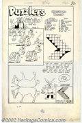 """Original Comic Art:Splash Pages, Unknown Artist - Peter Pig """"Puzzlers"""" Page (Standard, undated).Some pasteups are missing. 14.5"""" x 22.5"""". ..."""