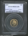 Proof Indian Cents: , 1859 1C PR64 Cameo PCGS. An important coin for proof type ...