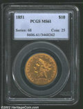 Liberty Eagles: , 1851 $10 MS61 PCGS. ...