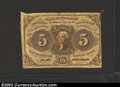 Fractional Currency:First Issue, First Issue 5c, Fr-1230, VF. This type note has stright edges ...