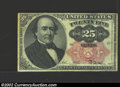 Fractional Currency:Fifth Issue, Fifth Issue 25c, Fr-1308, AU. This long key Walker note has a ...