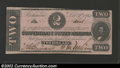Confederate Notes:1862 Issues, 1862 $2 Judah P. Benjamin, T-54, CU. The margin is cut in a bit...