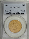 Liberty Eagles: , 1841 $10 XF45 PCGS. . PCGS Population (32/45). NGC Census: (37/97).Mintage: 63,131. Numismedia Wsl. Price for NGC/PCGS coi...