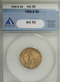1908-S $5 AU53 ANACS. . NGC Census: (13/353). PCGS Population (4/312). Mintage: 82,000. Numismedia Wsl. Price for NGC/PC...