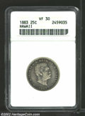 Coins of Hawaii: , 1883 25C Hawaii Quarter VF30 ANACS. ...