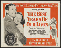 """The Best Years of Our Lives (RKO, R-1954). Half Sheet (22"""" X 28"""") Style B. Academy Award Winner"""
