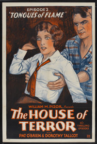 "The House of Terror (William Pizor, 1928). One Sheet (27"" X 41"") Episode 2 -- ""Tongues of Flame."" Se..."