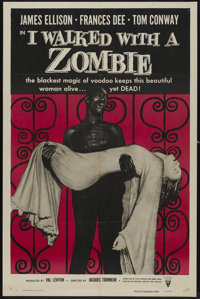 "I Walked With a Zombie (RKO, R-1956). One Sheet (27"" X 41""). Horror"