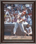 Autographs:Photos, Pete Rose Signed Photograph. Baseball's Hit King is shown here atthe plate where he racked up his all-time best 4,256 hits...