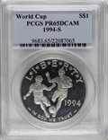 Modern Issues: , 1994-S $1 World Cup Silver Dollar PR65 Deep Cameo PCGS. . PCGSPopulation (4/1625). NGC Census: (1/9). Mintage: 576,978. Nu...