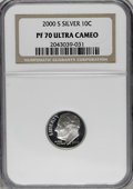 Proof Roosevelt Dimes: , 2000-S 10C Silver PR70 Deep Cameo NGC. . NGC Census: (675/0). PCGSPopulation (86/0). Numismedia Wsl. Price for NGC/PCGS c...