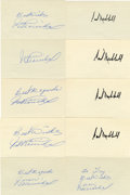 Autographs:Index Cards, Juan Marichal and Carl Hubbell Signed Index Cards Lot of 10. Former players of the New York/San Francisco Giants and member...
