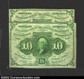 Fractional Currency:First Issue, A pair of First Issue 10¢, Fr-1242, one VF-XF and the other VF ...