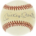 Autographs:Baseballs, Mickey Mantle Single Signed Baseball. The Mick has deposited hishobby-fave signature to the sweet spot of the offered OAL ...