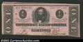 Confederate Notes:1862 Issues, 1862 $1 Clement C. Clay, T-55, AU. A note with three broad ...