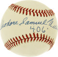 "Autographs:Baseballs, Theodore Samuel Williams "".406"" Single Signed Baseball. Stunningand unique memento from the Splendid Splinter places a ful..."