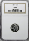 Proof Roosevelt Dimes, 1954 10C PR67 NGC. . NGC Census: (148/2). PCGS Population (55/0).Mintage: 114,000,000. Numismedia Wsl. Price for NGC/PCGS ...