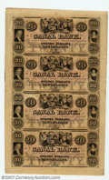 Obsoletes By State:Louisiana, 18-- Uncut Sheet $20-$20-$20-$20 Canal Bank, New Orleans, LA, ...