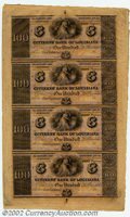 Obsoletes By State:Louisiana, 18-- Uncut Sheet $100-$100-$100-$100 Citizens' Bank of ...