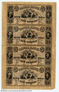Obsoletes By State:Louisiana, 18-- Uncut Sheet $5-$5-$5-$5 Canal Bank, New Orleans, LA, ...
