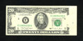 Error Notes:Obstruction Errors, Fr. 2077-E $20 1990 Federal Reserve Note. Very Fine.. Approximately10% of this note was covered by an obstruction. A black ...