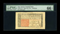 Colonial Notes:New Jersey, New Jersey March 25, 1776 6s PMG Gem Uncirculated 66 EPQ. Anenormously margined example of this popular New Jersey issue th...
