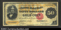Large Size:Gold Certificates, 1882 $50 Gold Certificate, Fr-1193, Fine-VF. A few trivial ...