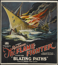 "The Flame Fighter (Rayart Pictures, 1925). Six Sheet (81"" X 81"") Chapter 4--""Blazing Paths."" Serial..."