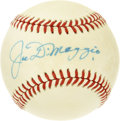 Autographs:Baseballs, Joe DiMaggio Single Signed Baseball. Joltin' Joe offers a top-notchsweet spot sig to the OAL (Brown) orb seen here, which ...