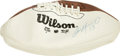 Football Collectibles:Balls, Dan Marino Single Signed Football. The man who has checked in on the Wilson souvenir football that we present here can make...