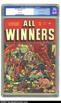 Golden Age (1938-1955):Superhero, All Winners Comics #12 (Timely, 1944) CGC VF+ 8.5 Off-white pages. On this great Alex Schomburg war cover, Cap, Torch, and t...