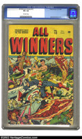 Golden Age (1938-1955):Superhero, All Winners Comics #13 (Timely, 1944) CGC VF+ 8.5 Off-white pages. Cap, Torch, and Subby take no prisoners on this Schomburg...