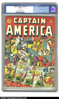 Captain America Comics #29 (Timely, 1943) CGC VF 8.0 Cream to off-white pages. You may not find this Schomburg WWII cove...