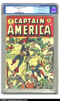 Captain America Comics #49 (Timely, 1945) CGC NM+ 9.6 White pages. Printed right at the end of WWII, this Schomburg cove...