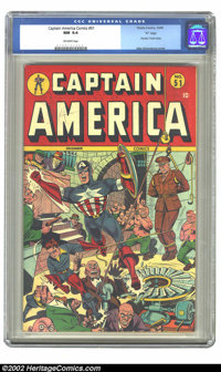 """Captain America Comics #51 """"D"""" Copy pedigree (Timely, 1945) CGC NM 9.4 Off-white pages. Captain America swings..."""
