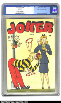 Joker Comics #25 Mile High pedigree (Timely, 1946) CGC NM 9.4 Off-white to white pages. Here we have a nice high-grade T...