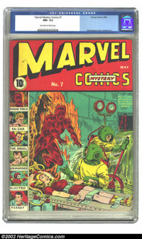 Marvel Mystery Comics #7 (Timely, 1940) CGC NM- 9.2 Off-white pages. An amazing early Timely cover which displays Alex S...
