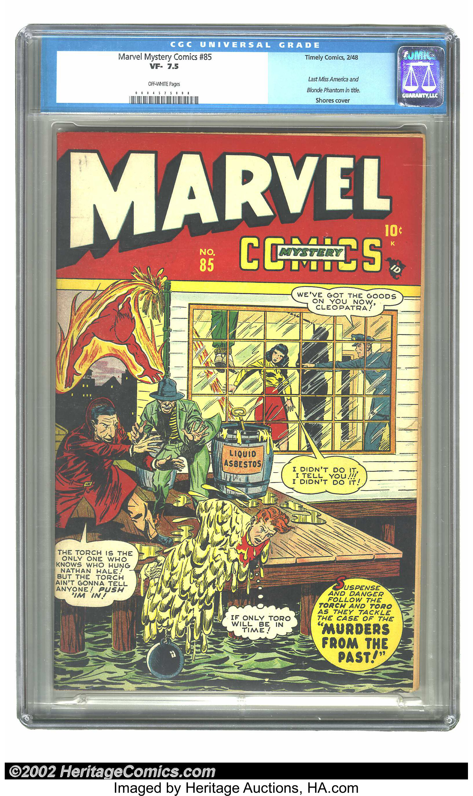Marvel Mystery Comics 85 Timely 1948 Cgc Vf 75 Off