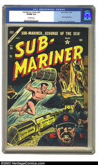 Sub-Mariner Comics #36 (Atlas, 1945) CGC VF/NM 9.0 Off-white pages. You would think after the way Subby kicked Nazi behi...