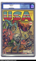 Golden Age (1938-1955):Superhero, U.S.A. Comics #1 Rockford pedigree (Timely, 1941) CGC VF/NM 9.0 Off-white pages. One of Simon and Kirby's most startling Naz...