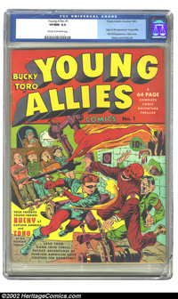 Young Allies Comics #1 (Timely, 1941) CGC VF/NM 9.0 Cream to off-white pages. One of the truly great covers from the Gol...