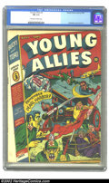 """Golden Age (1938-1955):Superhero, Young Allies Comics #3 (Timely, 1942) CGC FN 6.0 Off-white to white pages. Shouting, """"Remember Pearl Harbor!"""" the boys plow ..."""