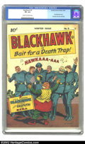 Golden Age (1938-1955):War, Blackhawk #9 (DC, 1944) CGC VF+ 8.5 Cream to off-white pages.Blackhawk kicks off his own series with this key issue, having...
