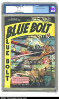 """Golden Age (1938-1955):War, Blue Bolt Vol. 3, #9 Mile High pedigree (Novelty Press, 1943) CGCNM- 9.2 White pages. Al Plastino gives us a """"serious"""" WWII..."""
