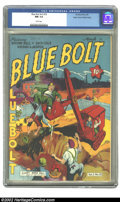Golden Age (1938-1955):War, Blue Bolt Vol. 3, #10 Mile High pedigree (Novelty Press, 1943) CGCNM 9.4 White pages. The colors on this Mile High cover ar...