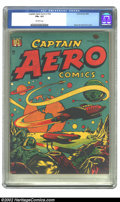 "Golden Age (1938-1955):Science Fiction, Captain Aero Comics #26 (Holyoke Publications, 1946) CGC FN+ 6.5 Off-white pages. This rarity earns a ""scarce"" from Overstre..."