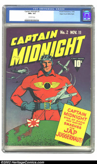 Captain Midnight #2 Mile High pedigree (Fawcett, 1942) CGC NM+ 9.6 Off-white pages. Captain Midnight stands guard over t...